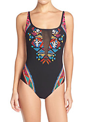 Women's Straped One-piece Swimwear Mesh Patchwork Condole Belt Rainbow Print Floral Nylon Polyester Spandex Multi-color Black