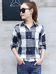 cheap -Women's Daily Formal Work Casual Sophisticated Spring Fall Shirt,Striped Shirt Collar Long Sleeves Cotton Rayon Polyester Thin