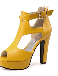 Women's Shoes Customized Materials Leatherette Spring Summer Fall Comfort Novelty Sandals Chunky Heel Block Heel Peep Toe Buckle For