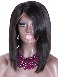 Indian Hair Straight Full Lace Human Hair Glueless Short Bob Wig 150% Density