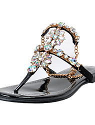 baratos -Mulheres Sapatos Couro Ecológico Primavera / Verão Sandálias Salto Baixo Pedrarias / Flor Amêndoa / Festas & Noite / Festas & Noite
