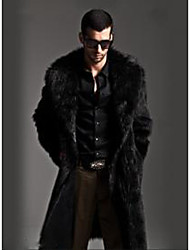 Men's Gift Activewear Work Holiday Classic Winter Fur Coat,Solid Color Peter Pan Collar Long Sleeve Long