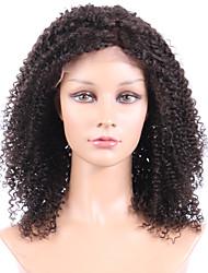 Kvinder Blondeparykker af menneskehår Menneskehår Blonde Front Halvblonder uden lim 130% Massefylde Afro Paryk Sort Kort Medium Lang