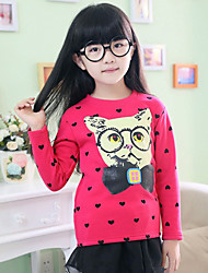 Girl's Cotton Fashion Spring/Winter/Autumn Casual/Daily Cartoon Print Long Sleeve Love Heart Cats T-shirt Children Under Shirt
