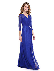cheap -Sheath / Column V Neck Floor Length Sheer Lace Mother of the Bride Dress with Crystals / Split Front / Criss Cross by LAN TING BRIDE® / Illusion Sleeve
