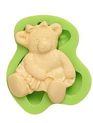 3d gummi bear art et artisanat en argile moules à biscuits au silicium pour gâteau fondant décoration couleur aléatoire