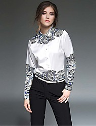Women's Casual/Daily Work Simple Summer Shirt,Print Shirt Collar Long Sleeve White Polyester Thin