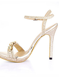 cheap -Women's Shoes PU Summer Comfort Sandals Stiletto Heel Open Toe Rhinestone for Wedding Dress Party & Evening Gold Silver
