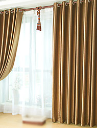 cheap -Rod Pocket Grommet Top Tab Top Double Pleat Two Panels Curtain Neoclassical , Embossed Solid Bedroom Polyester Material Blackout Curtains