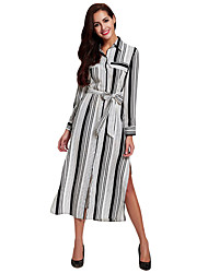 Women's Casual/Daily Simple Sheath Little Black Dress,Striped Hooded Knee-length Long Sleeve Black Polyester All Seasons Low Rise