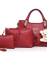 Damen Taschen Ganzjährig PU Bag Set mit Blume(n) Reißverschluss für Formal Gold Weiß Schwarz Rote Fuchsia
