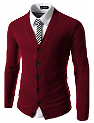 Men's Casual/Daily Simple Regular Cardigan,Solid Blue Red Black Brown Gray V Neck Long Sleeve Cotton Spring Fall Medium Micro-elastic