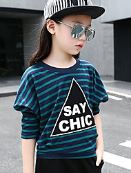 Girls' Daily Striped Print Tee,Cotton Spring Fall Long Sleeve Stripes Green Black