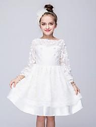 abordables -robe de bal longueur de genou robe de fille de fleur - organza manches longues col de bijoux avec applique par ydn
