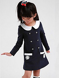 cheap -Girl's Patchwork Dress,Cotton Spring Fall Long Sleeve Red Navy Blue