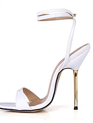 cheap -Women's Sandals Summer Ankle Strap PU Party & Evening Dress Stiletto Heel Blue White Gold Burgundy