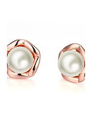 abordables -Femme Adorable Perle imitée Boucles d'oreille goujon / Avec boîte-cadeau - Mode Or Rose Forme de Cercle Des boucles d'oreilles Pour