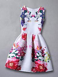 Vestito Ragazza Rayon Fantasia floreale Estate Primavera Autunno Senza maniche