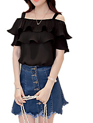 Women's Off The Shoulder|Ruffle Work Club Sexy Street chic Sophisticated All Seasons Blouse,Solid Strap Short Sleeve Pink White Black Others Medium