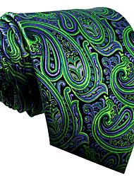cheap -QXL18 Mens Neckties Green Paisley 100% Silk Business New Fashion Wedding Dress For Men