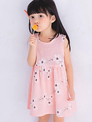 Girl's Beach Floral Dress,Cotton Linen Summer Sleeveless Floral Bow Blushing Pink Light Blue