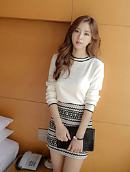 Women's Going out Casual/Daily Work Simple Vintage Sophisticated Spring Fall T-shirt Skirt Suits,Geometric Round Neck Long Sleeve Cotton