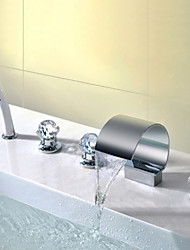 Mlfalls Contemporary Chrome Finish Five Holes Triple Crystal Handles Waterfall Bath Hand Shower Faucet