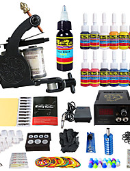 voordelige US Dispatched Tattoo Kits-Tattoo Machine Beginnersset - 1 pcs Tattoeagemachines met 14 x 5 ml tatoeage-inkten, Professioneel LED voeding No case 1 x legering tattoo machine voor de voering en schaduwen