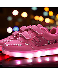 cheap -Girls' Shoes Synthetic Spring Summer Light Up Shoes Comfort Sneakers LED Hook & Loop Split Joint for Casual Outdoor White Black Blue Pink