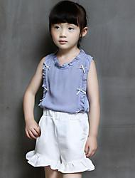 Pige Tøjsæt Daglig I-byen-tøj Ensfarvet, Rayon Polyester Sommer Uden ærmer Afslappet Gade Blå Lyserød