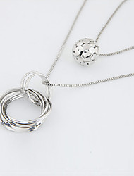 cheap -Women's Round Circle Circular Fashion Double-layer Pendant Necklace Layered Necklace Alloy Pendant Necklace Layered Necklace , Casual