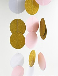 5cm*2m Pink White Gold Bunting Hanging Garland Valentine Birthday Party Wedding Shower Room Decoration Paper Round Circle String