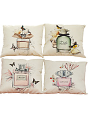 "Set of 4 Modern Creative Perfume Bottles Linen Throw Pillow Case Cushions (18""*18"")"