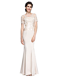 cheap -Mermaid / Trumpet V Neck Ankle Length Charmeuse Mother of the Bride Dress with Lace by LAN TING BRIDE®