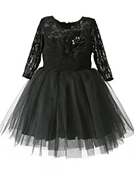 cheap -Girl Black Satin Tulle Lace Classical Belle Hand-made Dress