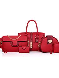 Damen Taschen Ganzjährig PU Bag Set Blume(n) Reißverschluss für Formal Schwarz Rote Grau Braun