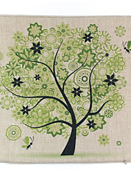 RayLineDo® Linen Cotton Square Throw Pillow Cover Green Flower Tree Decorative Pillow Case CTJZ21-PC-GFL