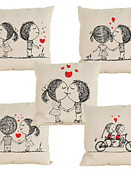 cheap -Set of 5 Novelty  Cartoon couple pattern Linen Pillowcase Sofa Home Decor Cushion Cover