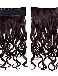 Fashionable Synthetic Hair 5 Clips Clip In 1 Piece Women's 60cm 24 Inches 120g Long Synthetic Curly Wavy Hair #4 Brown