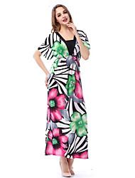 SWEET CURVE Women's Plus Size Beach Boho Swing Dress,Print Asymmetrical Maxi Short Sleeve Polyester Green Summer Mid Rise Micro-elastic