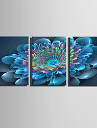 E-HOME Stretched Canvas Art Blue Flower Fantasy Decoration Painting Set Of 3