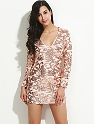 Women's Sequin Casual/Daily / Club Sexy / Vintage Bodycon Sequins Slim DressPrint Deep V Above Knee Long Sleeve Spring / Fall Mid Rise
