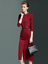 cheap -Women's Formal Work Street chic Sophisticated Sheath Dress,Solid Round Neck Knee-length ¾ Sleeve Cotton Polyester Spandex Spring FallMid