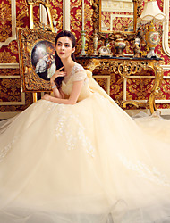 cheap -Ball Gown Illusion Neckline Cathedral Train Tulle Wedding Dress with Beading by Yuanfeishani