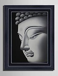 cheap -E-HOME® Framed Canvas Art, Buddha Head Framed Canvas Print One Pcs