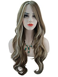 New Mixed Color Brown and Blonde Fashion Design Body Wave Long Length Middele Parting High Temperature Heat Resistant Synthetic Wigs
