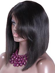 Layered Human Hair Bob Wig Glueless Lace Front Human Hair Short Bob Wigs With Side Bangs Black Women 12 Brazilian Hair Bob Wig