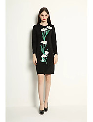 cheap -Women's Going out Street chic Faux Fur / Cotton Sheath Dress - Embroidered