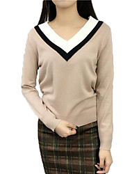 cheap -Women's Long Sleeves Cashmere Pullover - Solid V Neck