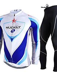Nuckily Fahrradtrikots mit Fahrradhosen Herrn Langarm Fahhrad Kleidungs-Sets UV-resistant Atmungsaktiv Reflexstreiffen Komfortabel